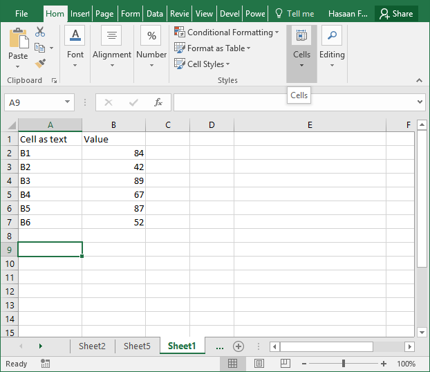 excel indirect function example